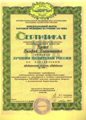 Сертификат лучший целитель